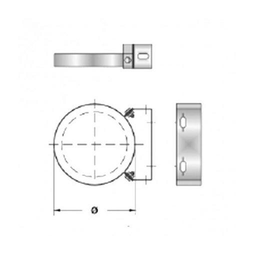 Afvoer muurbeugel dubbelwandig RVS zilver