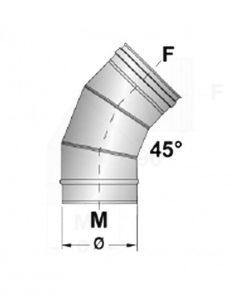 Afvoerbocht RVS 45 graden